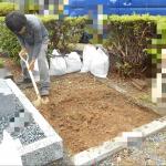 豊橋市営飯村墓地にて基礎工事です。
