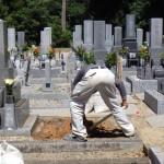豊橋市 お寺様の墓地で基礎工事です。