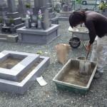 豊川市小坂井町 地域墓地にてお墓の工事です。