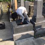 豊川市のお寺様の墓地でお墓の工事です。