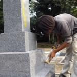 豊橋市 お寺様の墓地でお墓の工事です。