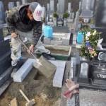 豊橋市 豊橋市営野依台墓地にてお墓の工事です。