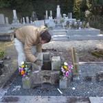 豊橋市 地域墓地にてお墓の建て替えのための基礎工事です。