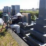 豊橋市営東細谷墓地にて戒名追加彫刻と定期メンテナンスの打ち合わせです。