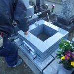 豊橋市 お寺様の墓地にてお墓の工事です。
