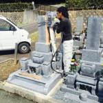 豊川市 お寺様の墓地にて戒名の追加彫刻です。