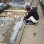 豊橋市天伯町墓地にてお墓の工事です。