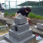 豊橋市天伯町墓地にて墓石工事です。