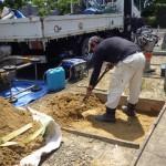 豊橋市 大清水墓地にてお墓の基礎工事です。
