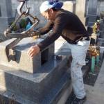 豊川市 お寺様の墓地にてお墓の工事です。