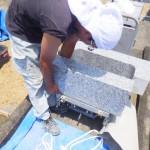 豊橋市の地域墓地にてお墓の外柵工事です。地震から墓石を守るお墓づくり。3重の補強と2重の基礎工事で皆様のお墓を守ります!