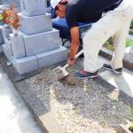 豊川市 お寺様の墓地にて基礎工事 地盤を固める転圧作業 墓石を支えるしっかりした基礎コンクリートを仕上げさせて頂きます。