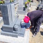 豊橋市 寺院様の墓地にて墓石の工事 お墓づくりに大切な耐震補強 墓地の清掃も怠りません。