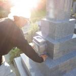 豊橋市 お寺様の墓地にて墓石の工事 お墓の基礎工事も正確な施工も時間をかけて行います。