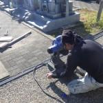 豊橋市営梅田川霊苑にてお墓の基礎工事です。墓石の形式・重量や墓地の地盤の具合に適した基礎工事を心掛けております。