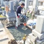豊川市のお寺様の墓地にてお墓の基礎工事です。墓石が傾くことがないように強度重視で作業に努めます。