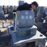 豊橋市営梅田川霊苑にてお墓の工事です。墓石の据え付けは強度と美観を心掛けて、精一杯努めさせて頂きます。